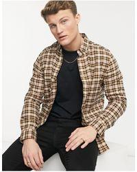 Burton - Camicia a maniche lunghe rossa e cuoio a quadri - Lyst
