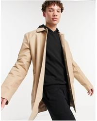 ASOS Shower Resistant Single Breasted Trench Coat - Natural