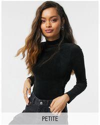Noisy May High Neck Velvet Bodysuit With Open Back - Black