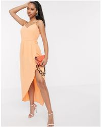 Y.A.S Cami Midi Dress With Wrap Front - Orange