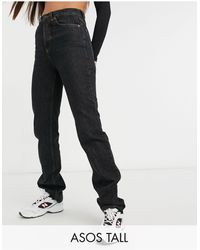 ASOS Asos Design Tall Mid Rise '90's' Straight Leg Jeans Washed Black With Button Fly - Blue