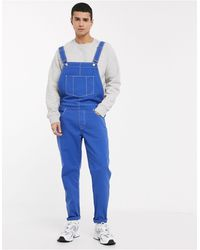 ASOS – Kobaltblaue Jeans-Latzhose mit Kontrastnähten