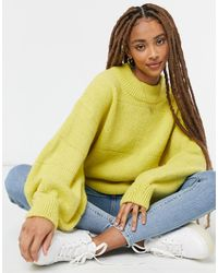 ASOS Oversized Jumper With Stripe Stitch Detail - Yellow