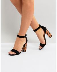 Glamorous - Block Heeled Sandal With Patterned Block In Black - Lyst