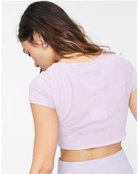 Bershka Укороченная Махровая Футболка Сиреневого Цвета -фиолетовый Цвет - Пурпурный