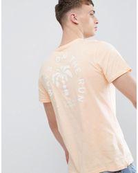 Stradivarius - T-shirt In Orange With Palm Tree Back Print - Lyst