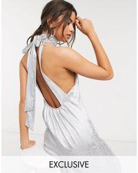 Flounce London High Neck Maxi Dress With Open Back - Metallic