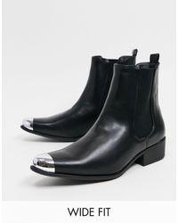 Truffle Collection - Черные Ботинки Челси Для Широкой Стопы В Стиле Вестерн С Отделкой На Носке -черный Цвет - Lyst