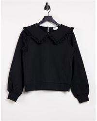 Vila Sweatshirt With Collar Detail - Black