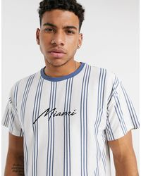 New Look Miami Embroidered Vertical Stripe T-shirt - White