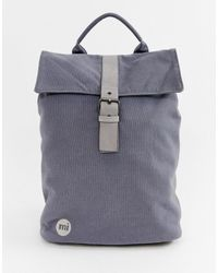 Mi-Pac Canvas Fold Top Backpack In Charcoal - Multicolour