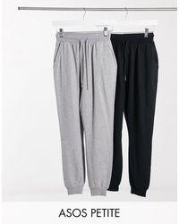 ASOS Pack de 2 joggers básicos negro y gris de ASOS DESIGN Petite-Multicolor