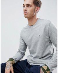 Original Penguin - Camo Cuff Crewneck Sweatshirt Zip Detail Logo Slim Fit Embroidered In Grey Marl - Lyst