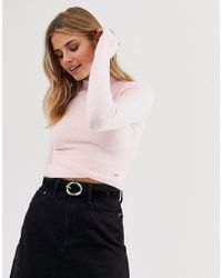 Hollister High Neck Sweater With Wrap Detail - Pink