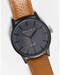 Bellfield – Herrenarmbanduhr mit schwarzem Zifferblatt und hellbraunem Lederband
