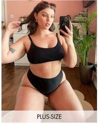 Simply Be Mix And Match Textured Bikini Top - Black