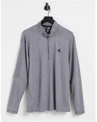 adidas Originals 3 Stripe Quarter Zip Sweatshirt - Grey