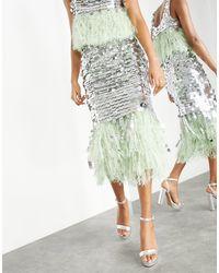 ASOS Paillette Sequin Midi Skirt With Feather Hem - Metallic