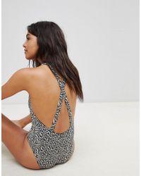 Maison Scotch - Deep V Printed Swimsuit - Lyst