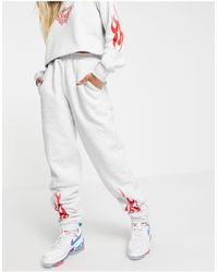 Skinnydip London Skinny Dip Oversized Trackies With Flame Print Co-ord - Grey