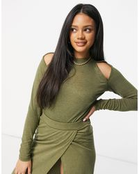 UNIQUE21 Knit Cut Out Long Sleeve Top - Green
