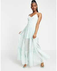 LACE & BEADS Exclusive Sheer Overlay Playing Card Dress - Green