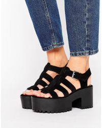 Pull&Bear Chunky Heeled Sandal - Black