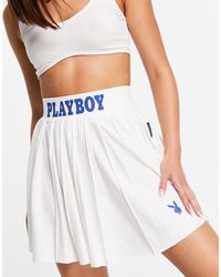 Missguided Playboy Sports Co-ord Tennis Skirt - White