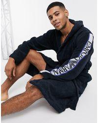 Emporio Armani – Loungewear – Morgenmantel aus Frottee mit Logoband am Arm - Blau