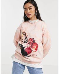 New Girl Order - – Oversize-Sweatshirt mit Batikmuster und Kätzchen-Grafik, Kombiteil - Lyst