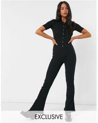 Reclaimed (vintage) Inspired Ribbed Flared Jumpsuit - Black