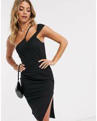 Lavish Alice Strappy Off Shoulder Midi Dress - Black