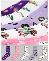TOPMAN Набор Из 5 Пар Высоких Носков Разного Дизайна -multi - Розовый