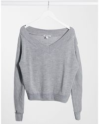 UNIQUE21 Sporty Stripe Knitted Jumper - Grey