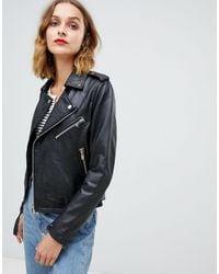 Barneys Originals Barney's Originals Leather Jacket With Belt - Black