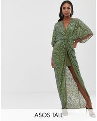 ASOS Asos Design Tall Scatter Sequin Knot Front Kimono Maxi Dress - Green