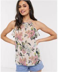 Oasis Floral Print Halterneck Cami Top - Natural