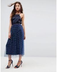 ASOS - Faux Pearl Embellished Fully Lined Tulle Midaxi Skirt - Lyst