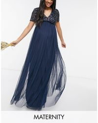 Maya Maternity Bridesmaid V-neck Maxi Tulle Dress With Tonal Delicate Sequins - Blue