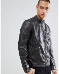 Barneys Originals Real Leather Biker Jacket - Brown