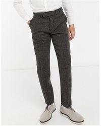 ASOS Harris Tweed 100% Wool Slim Suit Trousers - Brown