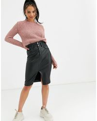 Bershka Faux Leather Midi Skirt - Black