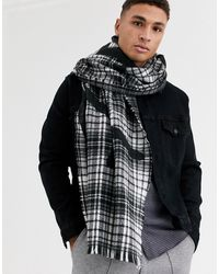 River Island Check Blanket Scarf With Prolific Print - Gray
