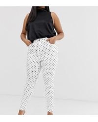 Simply Be Chloe High Waist Skinny Jeans In White With Black Polka Dots