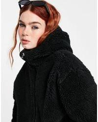 Weekday Peg Fleece Hooded Jacket - Black