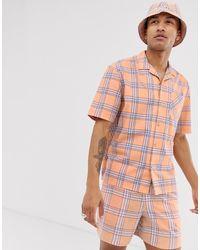 ASOS Festival - Regular-fit Overhemd Met Oranje Ruit Combi-set - Roze