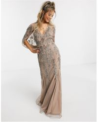 ASOS Бежево-розовое Платье Макси С Кейпом И Цветочной Вышивкой - Розовый