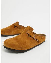 Birkenstock – Boston – Clogs-Slipper aus nerzfarbenem Wildleder - Braun