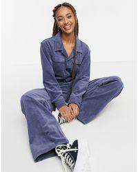 Wrangler Cord Relaxed Boilersuit - Blue