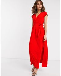 ASOS - Tie Waist Wrap Front Maxi Dress - Lyst
